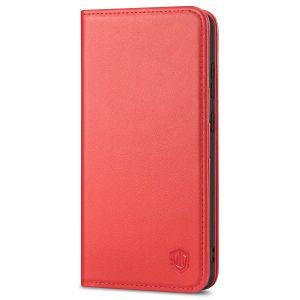 SHIELDON SAMSUNG GALAXY S21FE Flip Folio Book Kickstand Case, SAMSUNG S21 FE Genuine Leather Wallet Case - Red