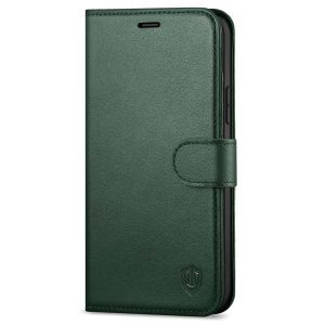 SHIELDON iPhone 12 Mini Leather Case, iPhone 12 Mini Folio Cover with Magnetic Clasp Closure, Genuine Leather, RFID Blocking, Kickstand Phone Case for Mini iPhone 12 5.4-inch 5G Midnight Green