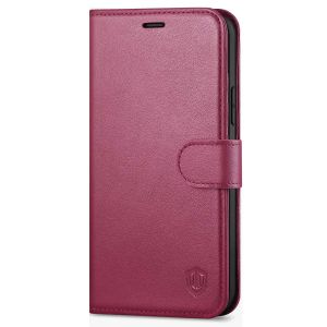 SHIELDON iPhone 12 Mini Leather Case, iPhone 12 Mini Folio Cover with Magnetic Clasp Closure, Genuine Leather, RFID Blocking, Kickstand Phone Case for Mini iPhone 12 5.4-inch 5G Red Violet