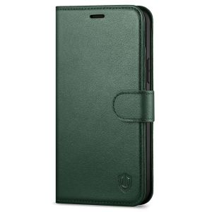 SHIELDON iPhone 12 Wallet Case, iPhone 12 Pro Wallet Cover, Genuine Leather Cover, RFID Blocking, Folio Flip Kickstand, Magnetic Closure for iPhone 12 / Pro 6.1-inch 5G Midnight Green