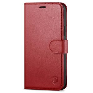 SHIELDON iPhone 12 Wallet Case, iPhone 12 Pro Wallet Cover, Genuine Leather Cover, RFID Blocking, Folio Flip Kickstand, Magnetic Closure for iPhone 12 / Pro 6.1-inch 5G Dark Red
