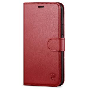 SHIELDON iPhone 12 Pro Max Wallet Case, Genuine Leather Folio Cover with Kickstand and Magnetic Closure for iPhone 12 Pro Max 6.7-inch 5G Dark Red