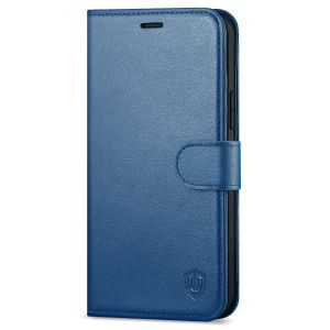 SHIELDON iPhone 12 Pro Max Wallet Case, Genuine Leather Folio Cover with Kickstand and Magnetic Closure for iPhone 12 Pro Max 6.7-inch 5G Royal Blue