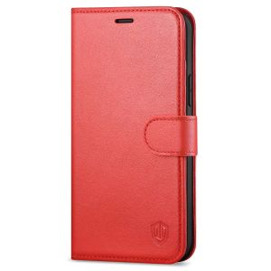 SHIELDON iPhone 12 Pro Max Wallet Case, Genuine Leather Folio Cover with Kickstand and Magnetic Closure for iPhone 12 Pro Max 6.7-inch 5G Red