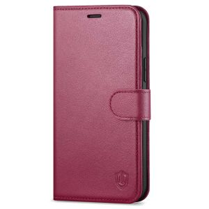 SHIELDON iPhone 12 Pro Max Wallet Case, Genuine Leather Folio Cover with Kickstand and Magnetic Closure for iPhone 12 Pro Max 6.7-inch 5G Red Violet