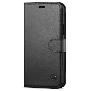 SHIELDON iPhone 13 Mini Genuine Leather Case, iPhone 13 Mini Wallet Cover with Magnetic Clasp Closure - Black