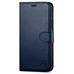 SHIELDON iPhone 13 Mini Genuine Leather Case, iPhone 13 Mini Wallet Cover with Magnetic Clasp Closure - Navy Blue