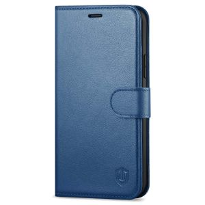 SHIELDON iPhone 13 Mini Genuine Leather Case, iPhone 13 Mini Wallet Cover with Magnetic Clasp Closure - Royal Blue