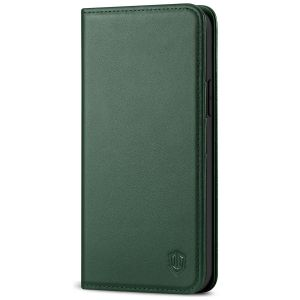 SHIELDON iPhone 13 Wallet Case, iPhone 13 Genuine Leather Cover with RFID Blocking, Book Folio Flip Kickstand Magnetic Closure - Midnight Green