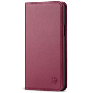 SHIELDON iPhone 13 Wallet Case, iPhone 13 Genuine Leather Cover with RFID Blocking, Book Folio Flip Kickstand Magnetic Closure - Red Violet