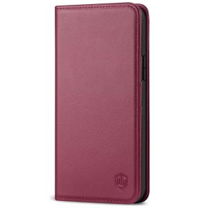 SHIELDON iPhone 13 Pro Max Wallet Case, iPhone 13 Pro Max Genuine Leather Cover - Red Violet