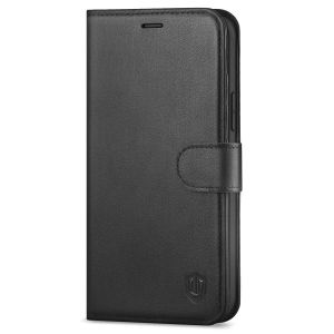 SHIELDON iPhone 13 Wallet Case, iPhone 13 Genuine Leather Cover Book Folio Flip Kickstand Case with Magnetic Clasp - Black
