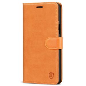 SHIELDON iPhone 13 Wallet Case, iPhone 13 Genuine Leather Cover Book Folio Flip Kickstand Case with Magnetic Clasp - Brown