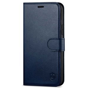 SHIELDON iPhone 13 Wallet Case, iPhone 13 Genuine Leather Cover Book Folio Flip Kickstand Case with Magnetic Clasp - Navy Blue