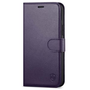 SHIELDON iPhone 13 Wallet Case, iPhone 13 Genuine Leather Cover Book Folio Flip Kickstand Case with Magnetic Clasp - Purple