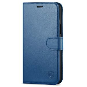 SHIELDON iPhone 13 Wallet Case, iPhone 13 Genuine Leather Cover Book Folio Flip Kickstand Case with Magnetic Clasp - Royal Blue