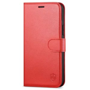 SHIELDON iPhone 13 Wallet Case, iPhone 13 Genuine Leather Cover Book Folio Flip Kickstand Case with Magnetic Clasp - Red