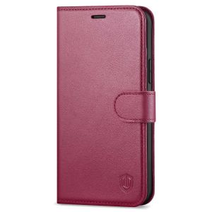 SHIELDON iPhone 13 Wallet Case, iPhone 13 Genuine Leather Cover Book Folio Flip Kickstand Case with Magnetic Clasp - Red Violet