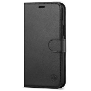 SHIELDON iPhone 13 Pro Max Wallet Case, iPhone 13 Pro Max Genuine Leather Cover with Magnetic Clasp Closure - Black