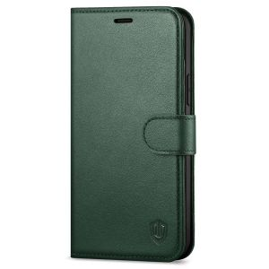 SHIELDON iPhone 13 Pro Max Wallet Case, iPhone 13 Pro Max Genuine Leather Cover with Magnetic Clasp Closure - Midnight Green