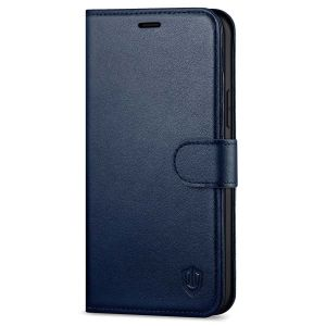 SHIELDON iPhone 13 Pro Max Wallet Case, iPhone 13 Pro Max Genuine Leather Cover with Magnetic Clasp Closure - Navy Blue