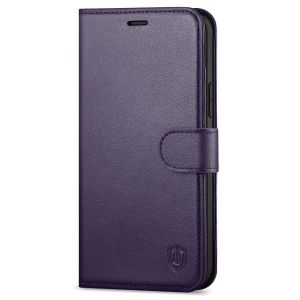 SHIELDON iPhone 13 Pro Max Wallet Case, iPhone 13 Pro Max Genuine Leather Cover with Magnetic Clasp Closure - Purple