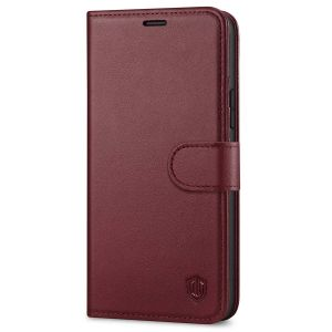 SHIELDON iPhone 13 Wallet Case, iPhone 13 Genuine Leather Cover Book Folio Flip Kickstand Case with Magnetic Clasp - Wine Red