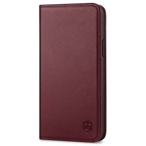 SHIELDON iPhone 13 Wallet Case, iPhone 13 Genuine Leather Cover with RFID Blocking, Book Folio Flip Kickstand Magnetic Closure - Wine Red