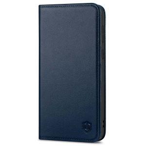 SHIELDON SAMSUNG S21 Wallet Case - SAMSUNG GALAXY S21 6.2-inch Folio Leather Case - Navy Blue
