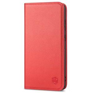 SHIELDON SAMSUNG S21 Wallet Case - SAMSUNG GALAXY S21 6.2-inch Folio Leather Case - Red