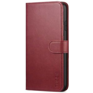 TUCCH iPhone 11 Pro Max Wallet Case for Men, iPhone 11 Pro Max Leather Cover with Magnetic Clasp - Dark Red