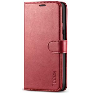 TUCCH iPhone 12 5.4-inch Flip Leather Wallet Case - Dark Red