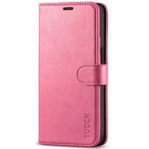 TUCCH iPhone 12 5.4-inch Flip Leather Wallet Case - Hot Pink