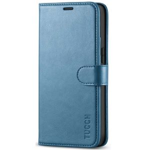 TUCCH iPhone 12 Mini 5.4-inch Flip Leather Wallet Case - Light Blue
