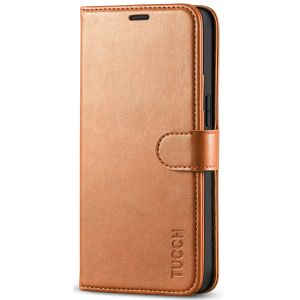 TUCCH iPhone 12 5.4-inch Flip Leather Wallet Case - Light Brown