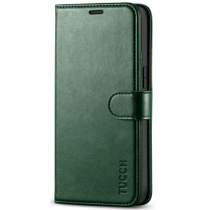TUCCH iPhone 12 Mini 5.4-inch Flip Leather Wallet Case - Midnight Green