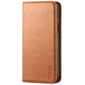 TUCCH iPhone 12 Mini Wallet Case, iPhone 12 Mini Flip Cover, Magnetic Closure Phone Case for Mini iPhone 12 5G 5.4-inch Light Brown
