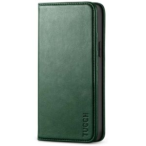 TUCCH iPhone 12 Wallet Case, iPhone 12 Flip Cover, Magnetic Closure Phone Case for iPhone 12 5G 5.4-inch Midnight Green