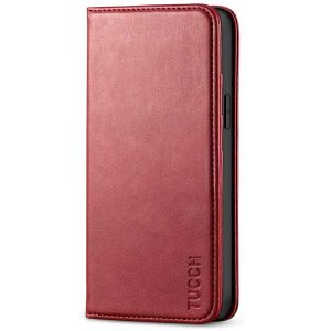 TUCCH iPhone 12 Wallet Case, iPhone 12 Flip Cover, Magnetic Closure Phone Case for iPhone 12 5G 5.4-inch Dark Red