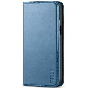 TUCCH iPhone 12 Mini Wallet Case, iPhone 12 Mini Flip Cover, Magnetic Closure Phone Case for Mini iPhone 12 5G 5.4-inch Lake Blue