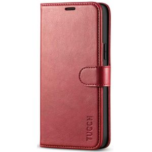 TUCCH iPhone 12 Wallet Case, iPhone 12 Pro Case, iPhone 12 / Pro 6.1-inch Flip Case - Dark Red