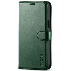 TUCCH iPhone 12 Wallet Case, iPhone 12 Pro Case, iPhone 12 / Pro 6.1-inch Flip Case - Midnight Green