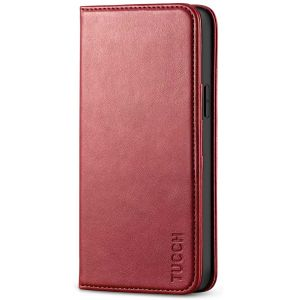TUCCH iPhone 12 Wallet Case, iPhone 12 Pro Wallet Case, Flip Cover with Stand, Credit Card Slots, Magnetic Closure for iPhone 12 / Pro 6.1-inch 5G Dark Red