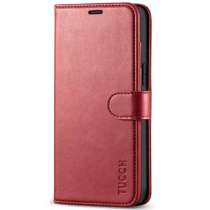 TUCCH iPhone 12 Pro Max Wallet Case, iPhone 12 Pro Max 6.7-inch Flip Case - Dark Red
