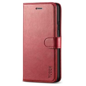 TUCCH iPhone 7 Wallet Case, iPhone 8 Case, Premium PU Leather Case - Dark Red