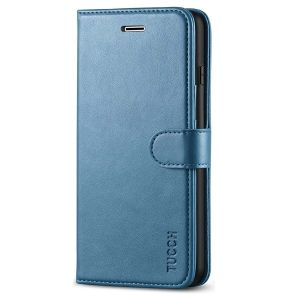 TUCCH iPhone 8 Plus Wallet Case, iPhone 7 Plus Case, Premium PU Leather Flip Folio Case - Lake Blue