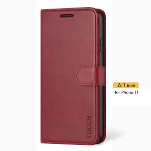TUCCH iPhone 11 Wallet Case for Women, iPhone 11 Folio Case Thin - Dark Red
