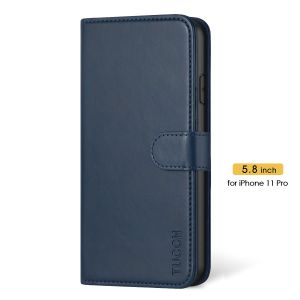 TUCCH iPhone 11 Pro Wallet Case with Magnetic, iPhone 11 Pro Leather Case - Blue