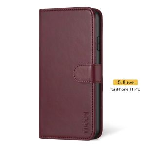 TUCCH iPhone 11 Pro Wallet Case with Strap, iPhone 11 Pro Stand Case with Card Holder - Wine Red