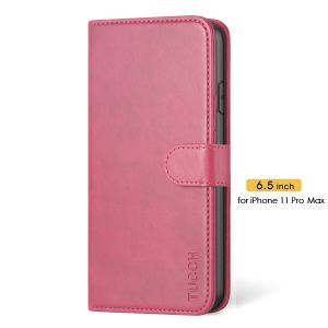 TUCCH iPhone 11 Pro Max Wallet Case Protective, iPhone 11 Pro Max Flip Cover Slim - Hot Pink